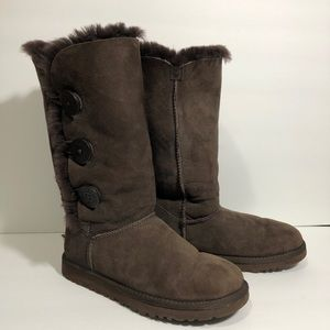 Ugg Bailey Button Triplet Brown Tall Boots